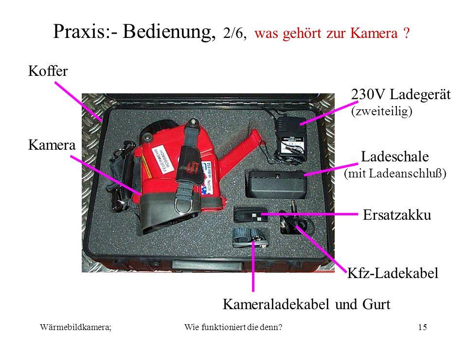 Praxis:- Bedienung, 2/6, was gehört zur Kamera