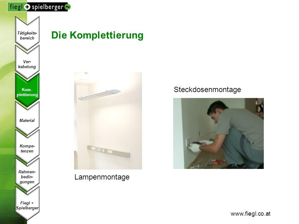 Die Komplettierung Steckdosenmontage Lampenmontage www.fiegl.co.at