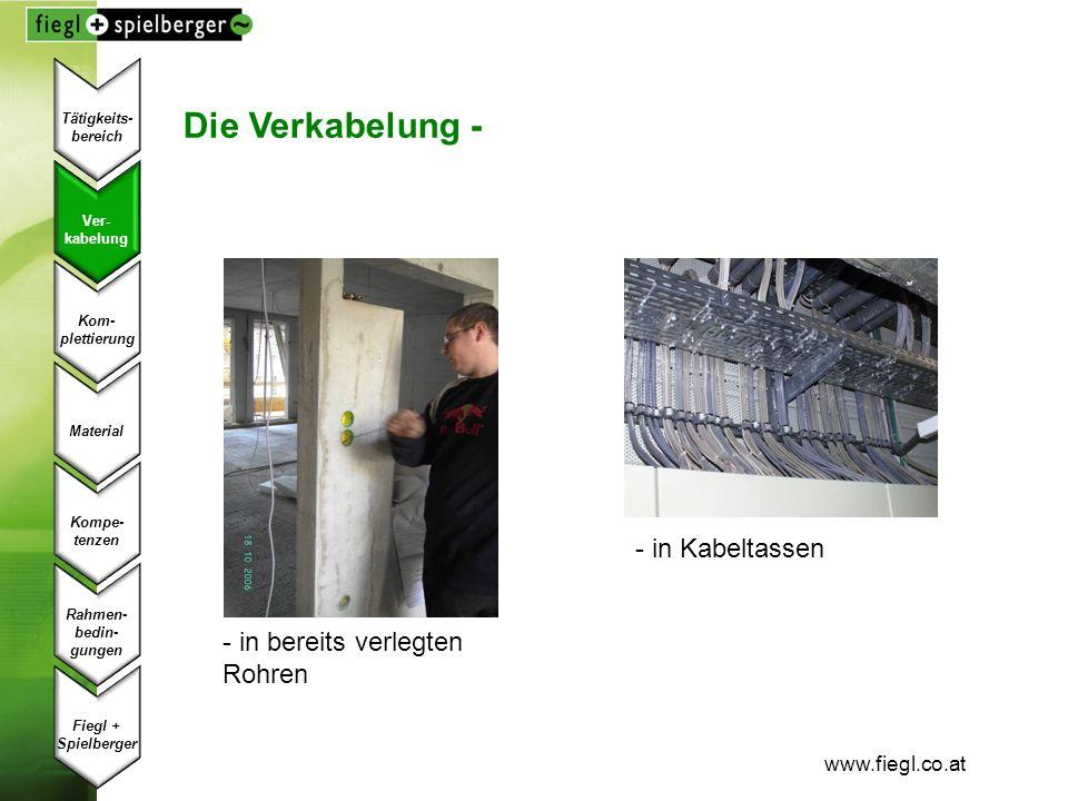 Die Verkabelung - - in Kabeltassen in bereits verlegten Rohren
