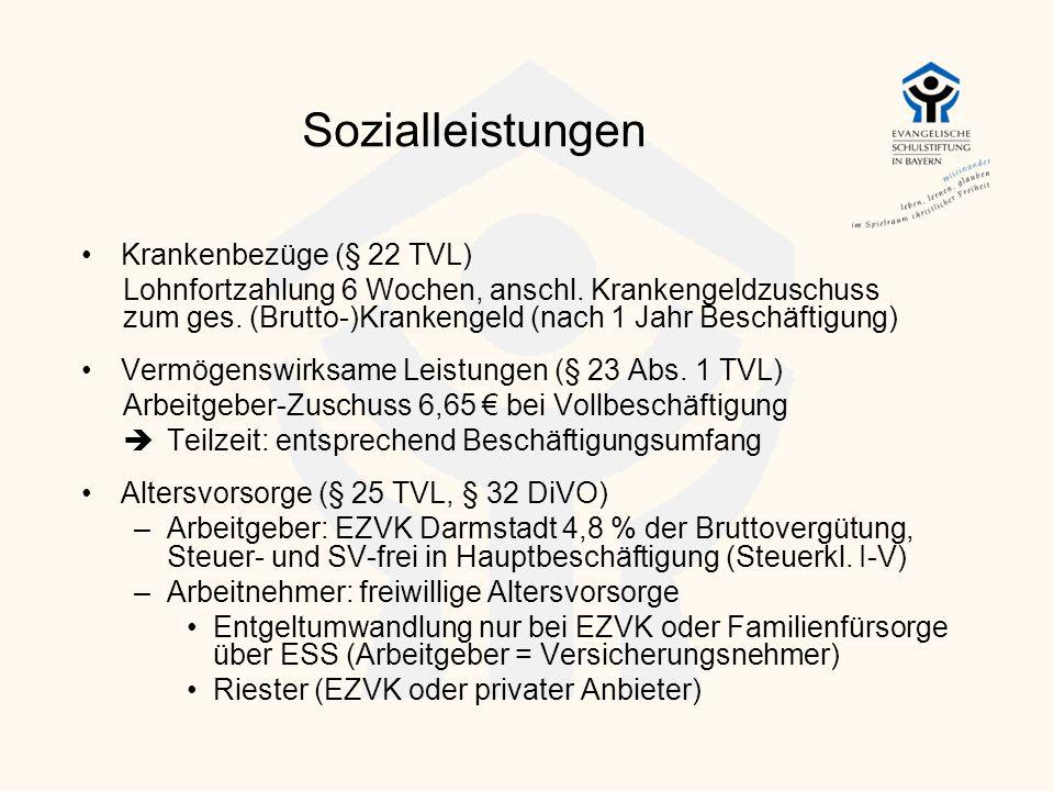 Sozialleistungen Krankenbezüge (§ 22 TVL)