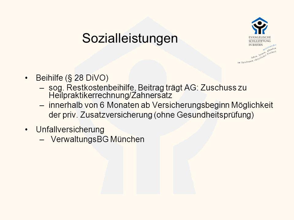 Sozialleistungen Beihilfe (§ 28 DiVO)