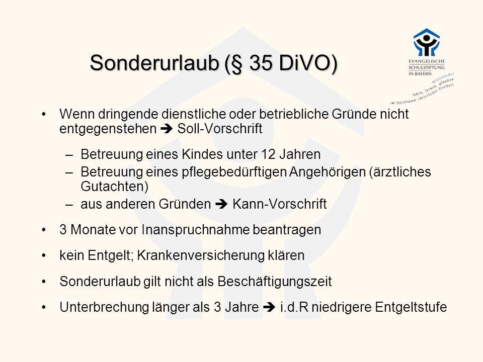 Sonderurlaub (§ 35 DiVO) Wenn dringende dienstliche oder betriebliche Gründe nicht entgegenstehen  Soll-Vorschrift.