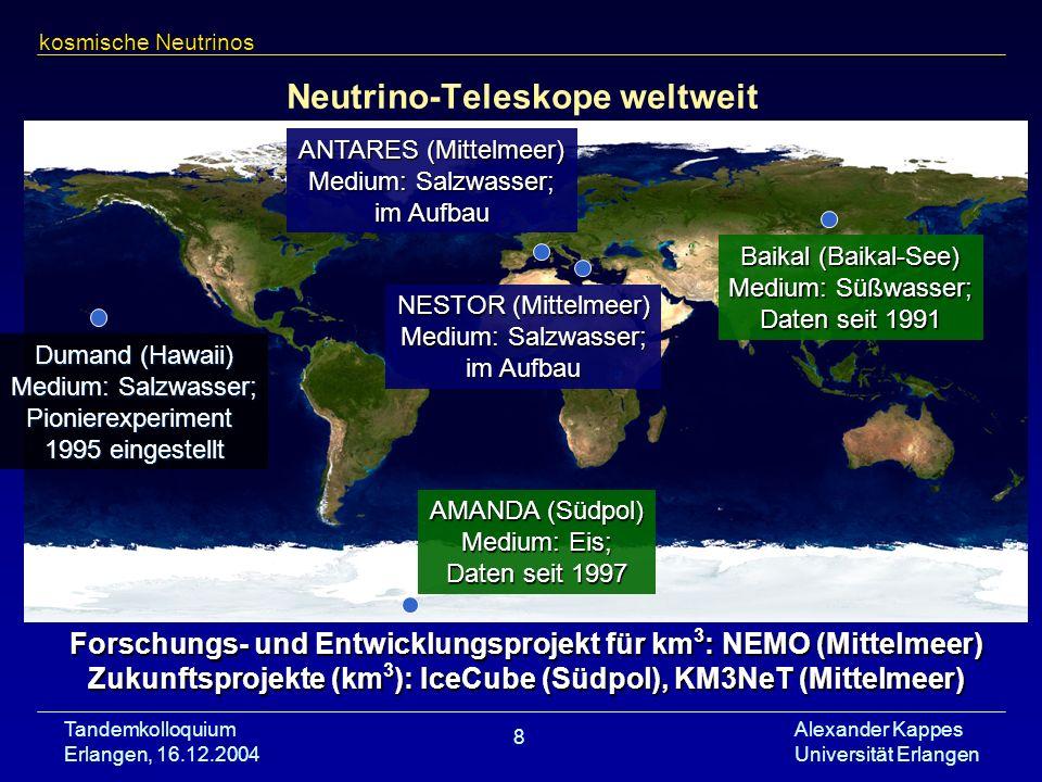 Neutrino-Teleskope weltweit
