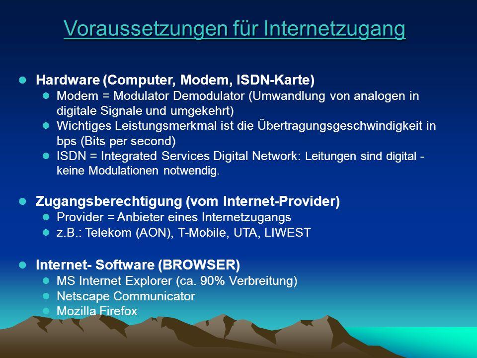 Voraussetzungen für Internetzugang