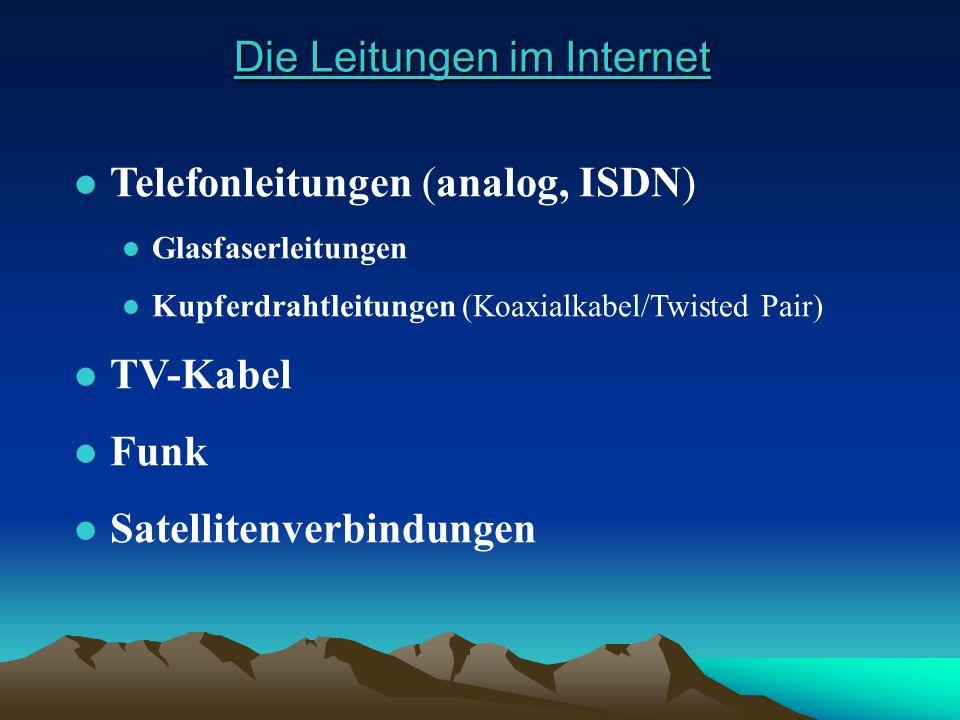 Die Leitungen im Internet