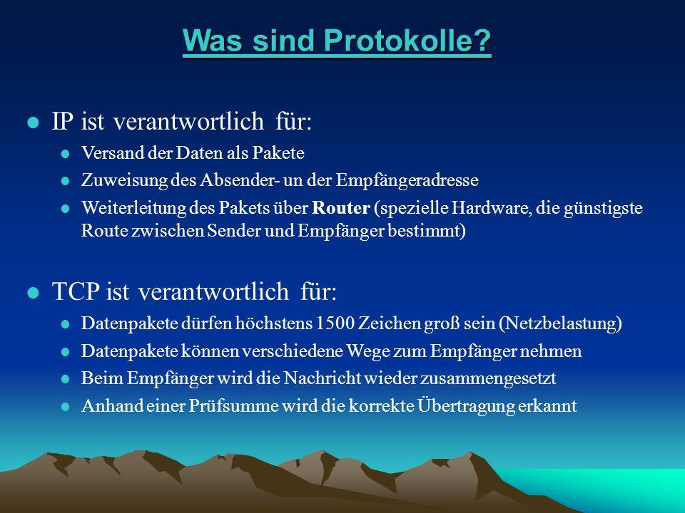 Was sind Protokolle IP ist verantwortlich für: