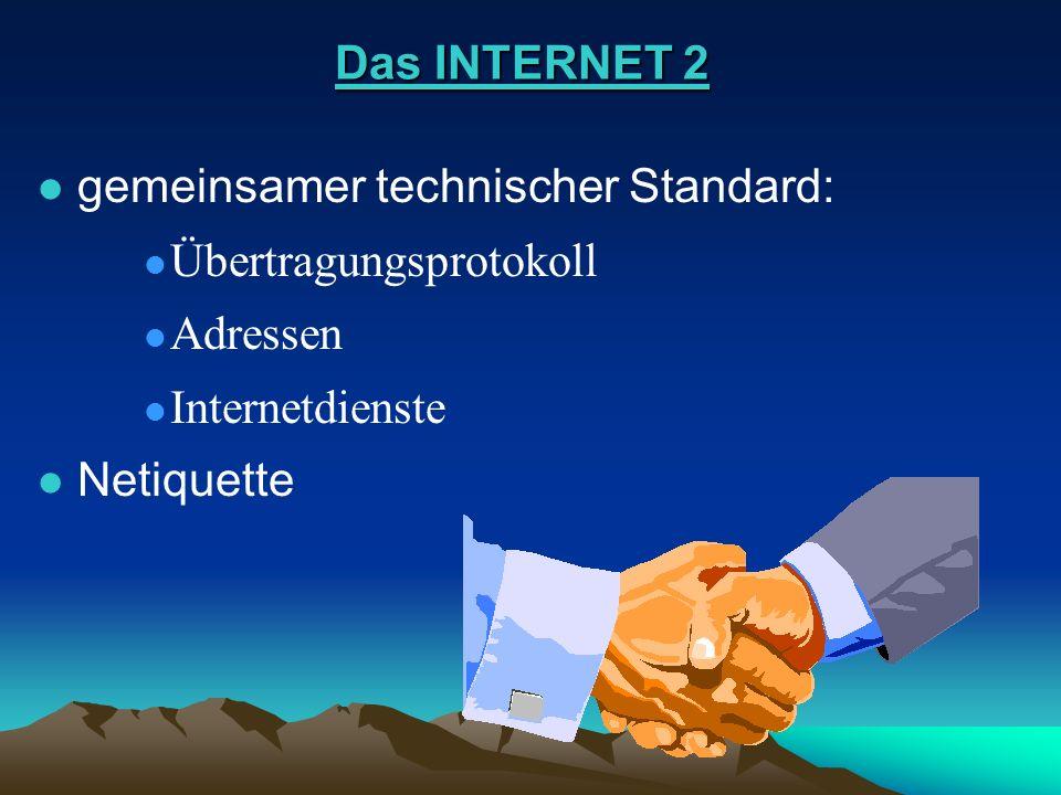 Das INTERNET 2 gemeinsamer technischer Standard: Übertragungsprotokoll. Adressen. Internetdienste.