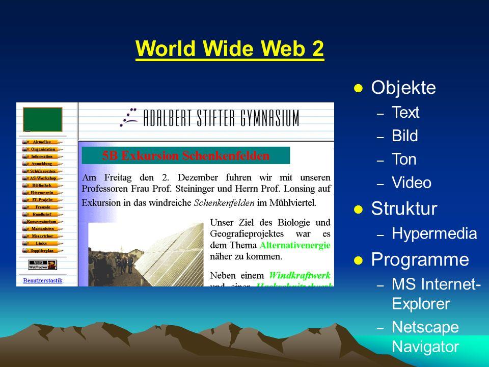 World Wide Web 2 Objekte Struktur Programme Text Bild Ton Video