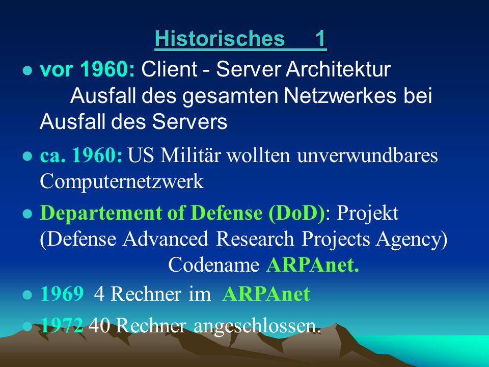 Historisches 1 vor 1960: Client - Server Architektur Ausfall des gesamten Netzwerkes bei Ausfall des Servers.