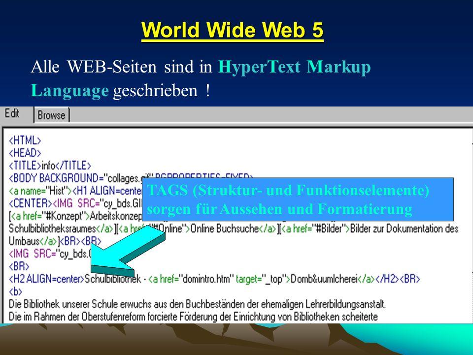 Alle WEB-Seiten sind in HyperText Markup Language geschrieben !