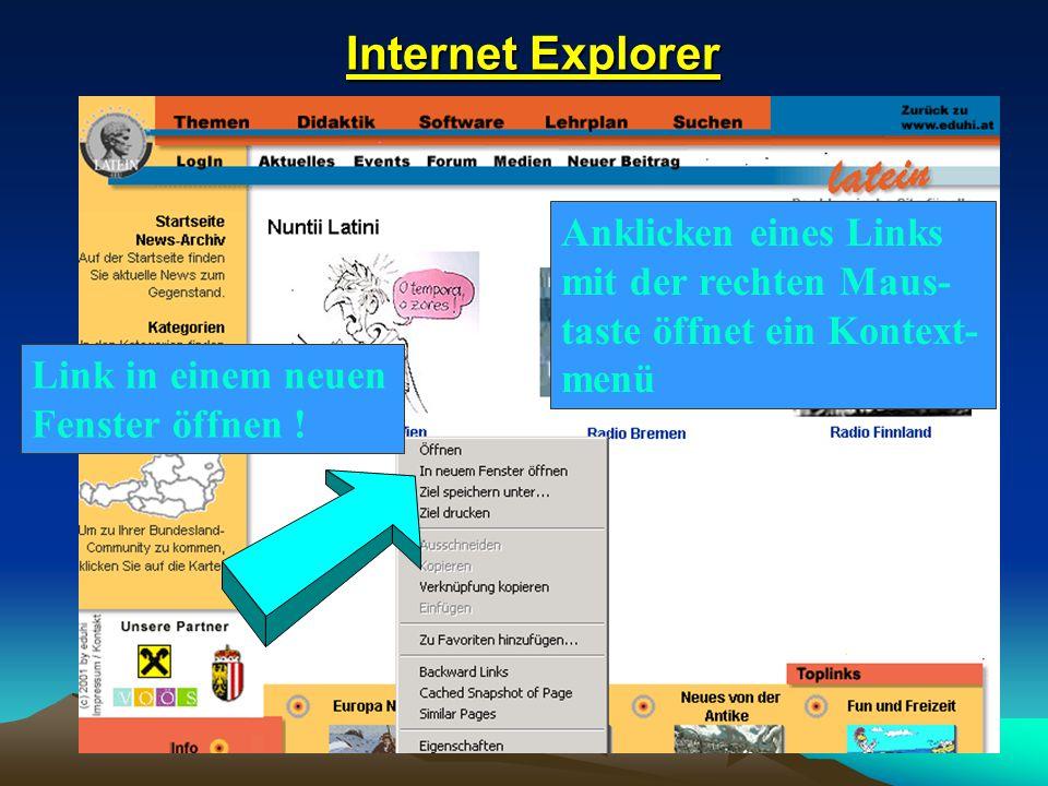 Internet Explorer Anklicken eines Links mit der rechten Maus-taste öffnet ein Kontext-menü.
