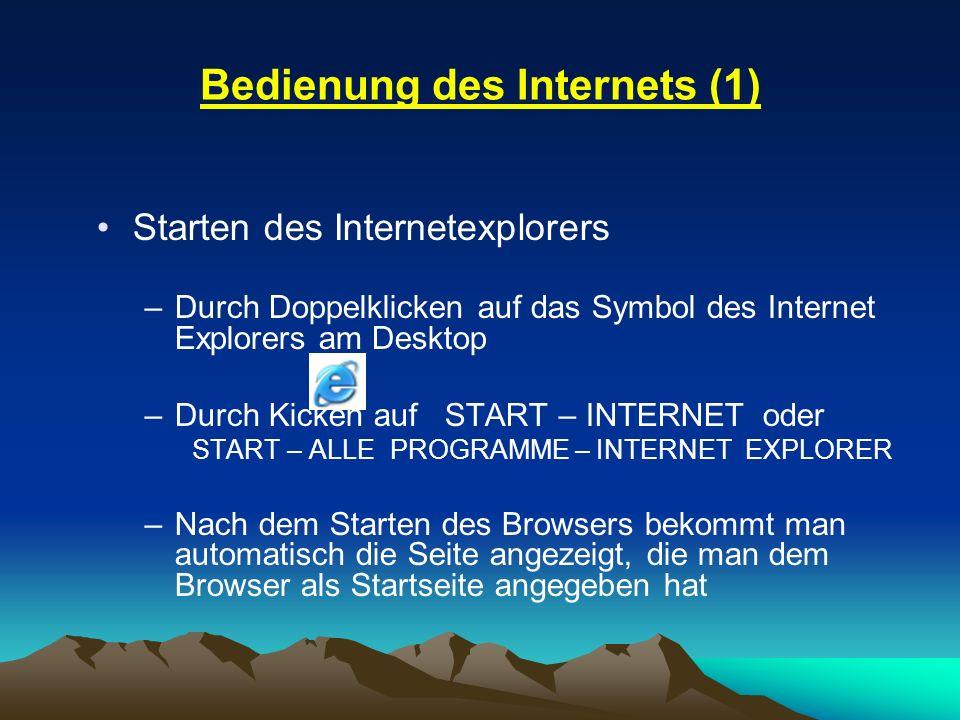Bedienung des Internets (1)