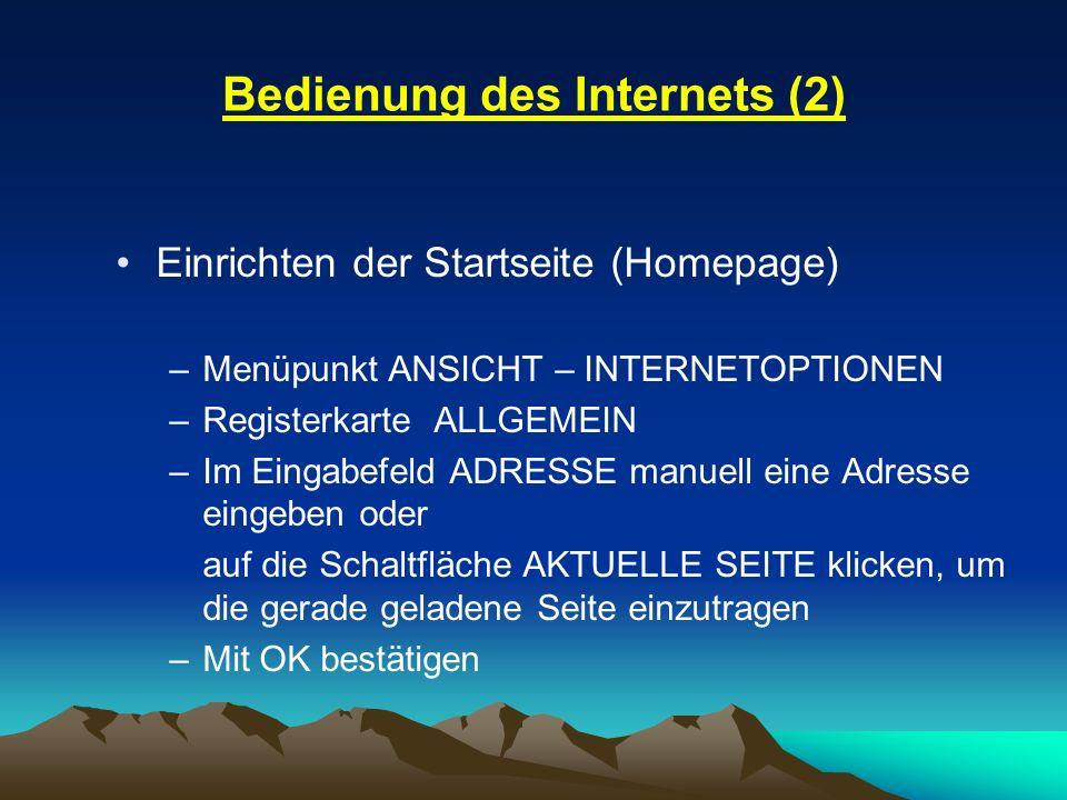 Bedienung des Internets (2)