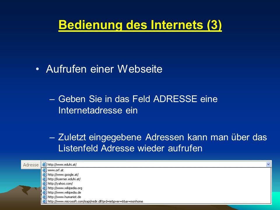 Bedienung des Internets (3)