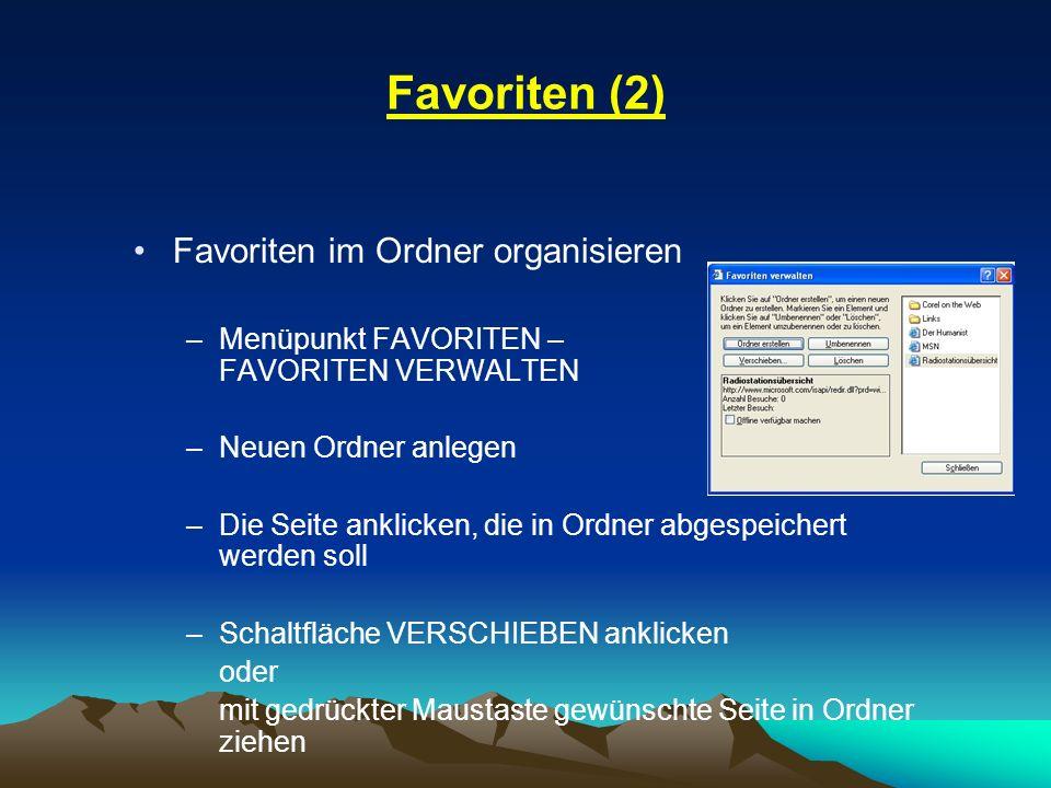 Favoriten (2) Favoriten im Ordner organisieren