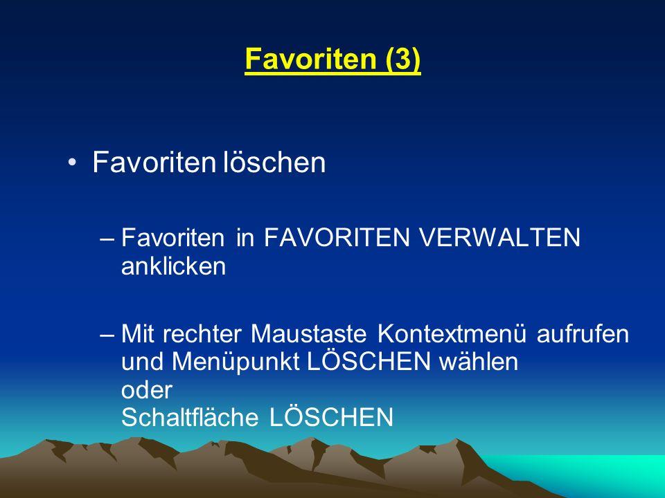Favoriten (3) Favoriten löschen