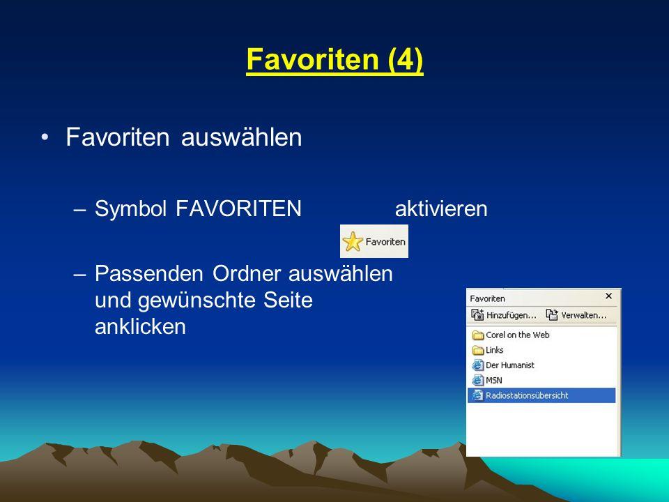 Favoriten (4) Favoriten auswählen Symbol FAVORITEN aktivieren