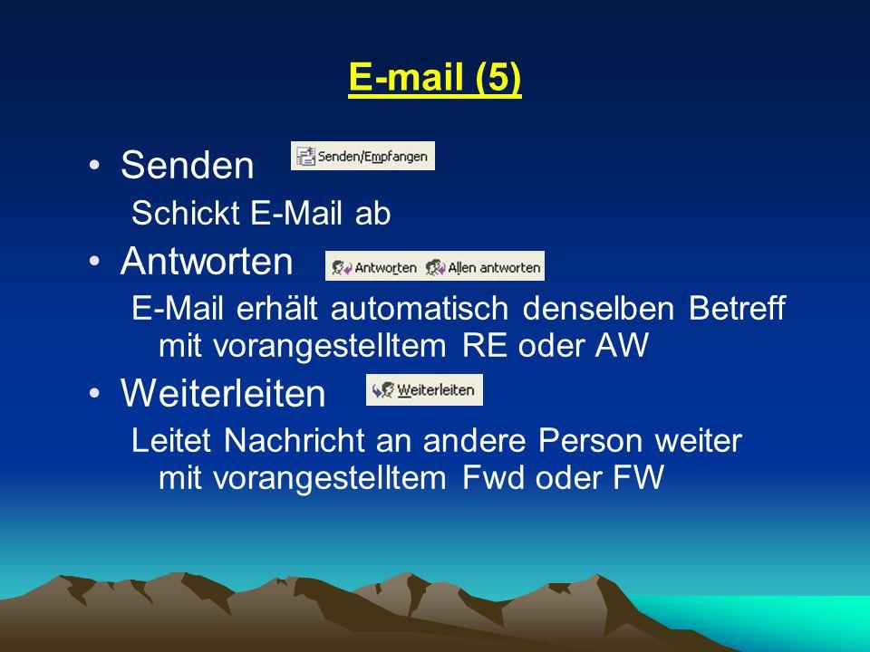 E-mail (5) Senden Antworten Weiterleiten Schickt E-Mail ab