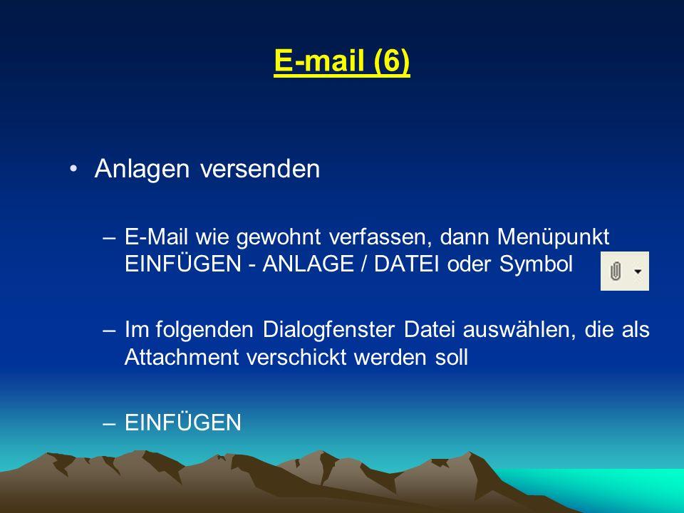 E-mail (6) Anlagen versenden