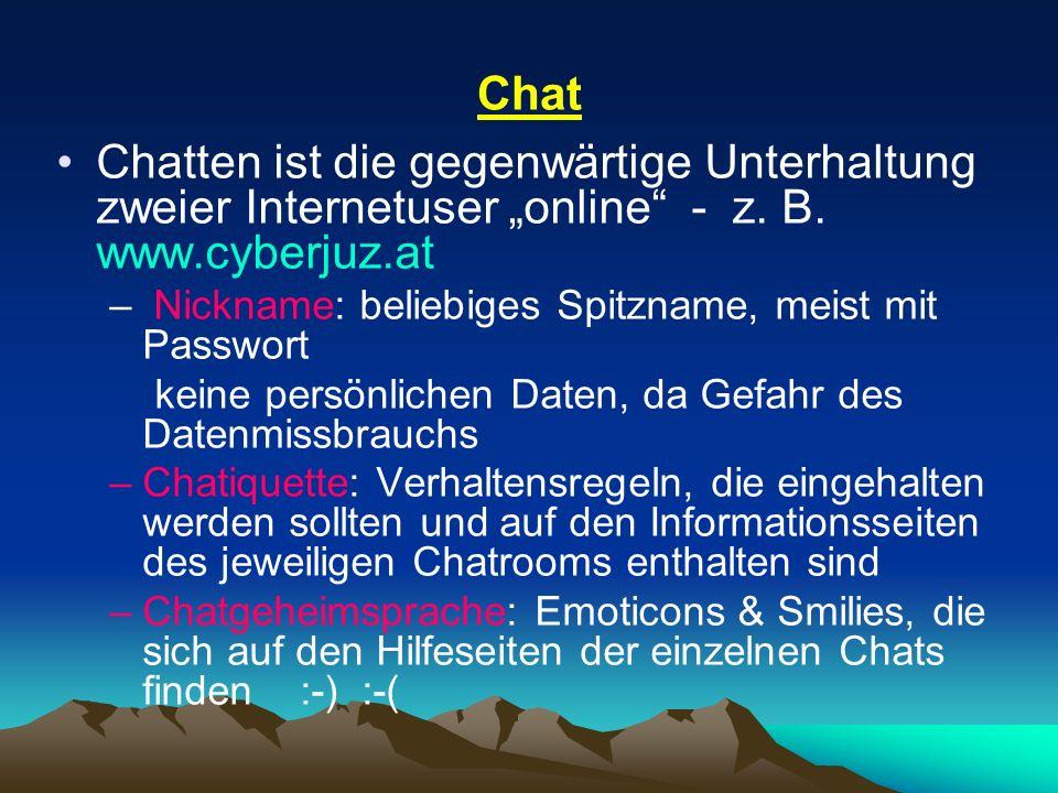 """Chat Chatten ist die gegenwärtige Unterhaltung zweier Internetuser """"online - z. B. www.cyberjuz.at."""