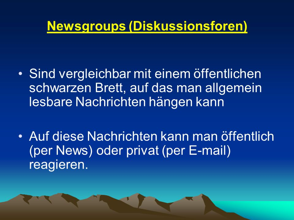 Newsgroups (Diskussionsforen)