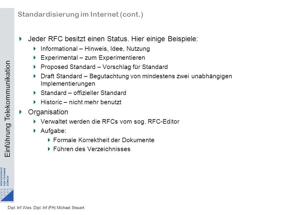 Standardisierung im Internet (cont.)