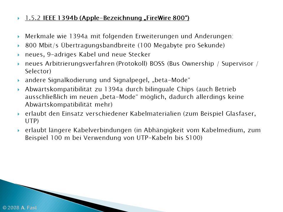 """1.5.2 IEEE 1394b (Apple-Bezeichnung """"FireWire 800 )"""
