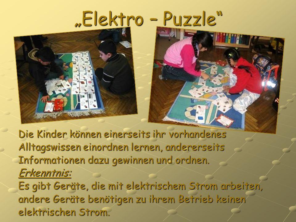 """""""Elektro – Puzzle Die Kinder können einerseits ihr vorhandenes"""