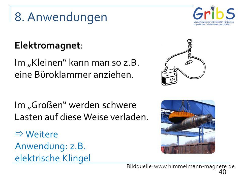 8. Anwendungen Elektromagnet: