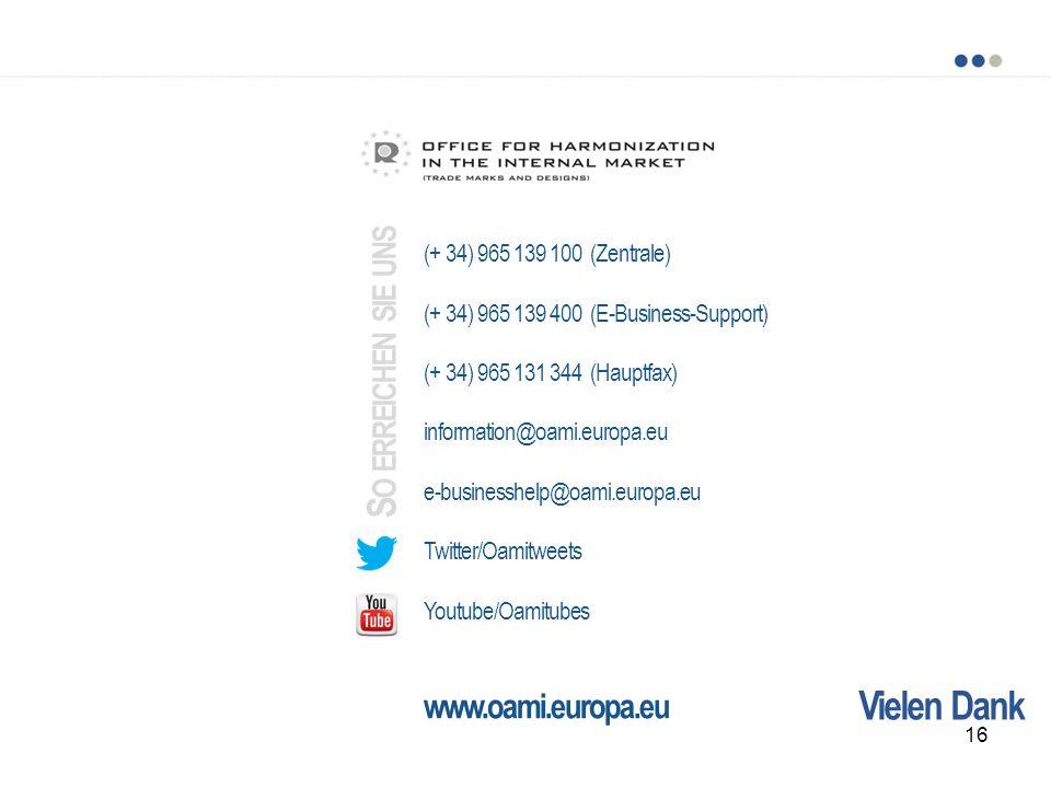 So erreichen sie uns Vielen Dank www.oami.europa.eu