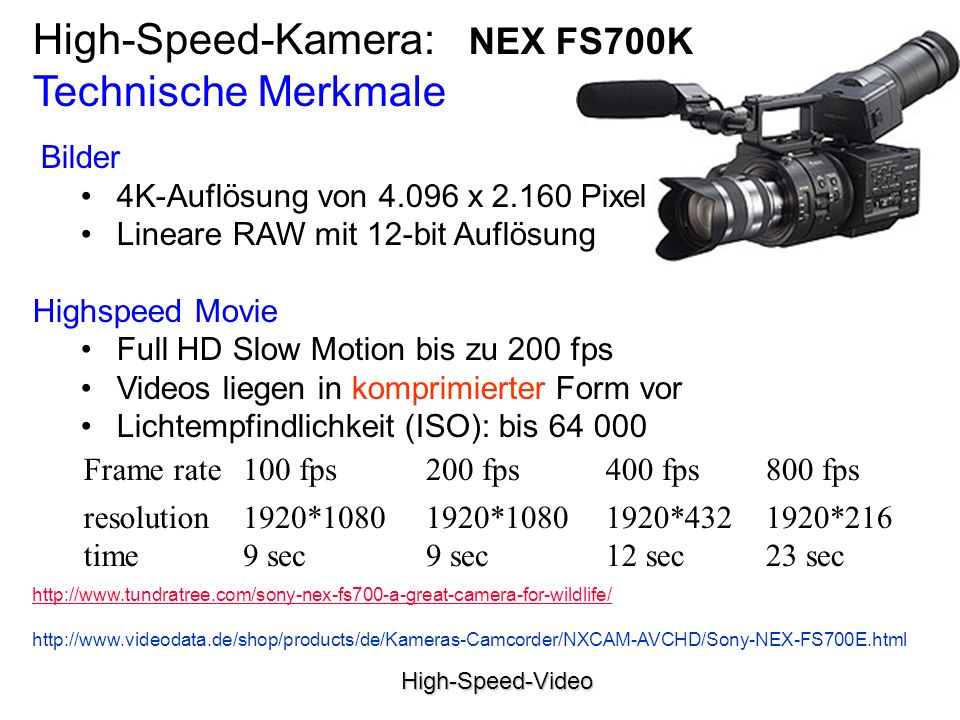 High-Speed-Kamera: NEX FS700K Technische Merkmale