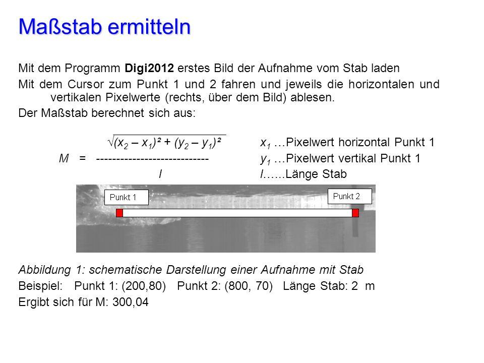 Maßstab ermitteln Mit dem Programm Digi2012 erstes Bild der Aufnahme vom Stab laden.