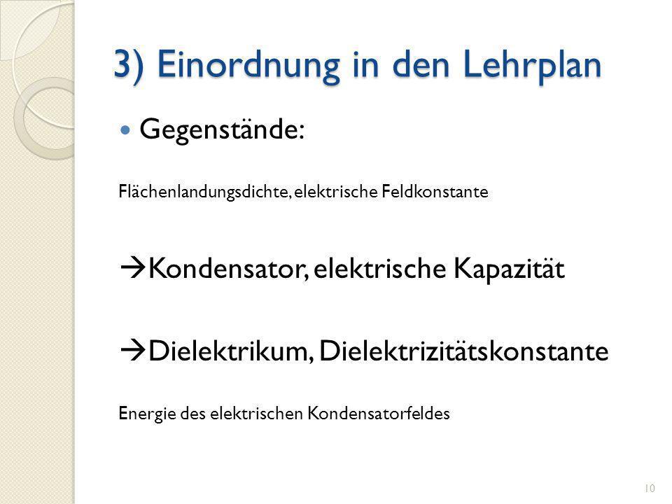3) Einordnung in den Lehrplan