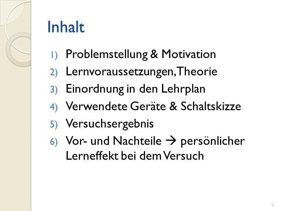 Inhalt Problemstellung & Motivation Lernvoraussetzungen, Theorie