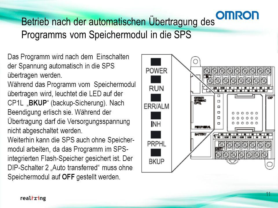 Betrieb nach der automatischen Übertragung des Programms vom Speichermodul in die SPS