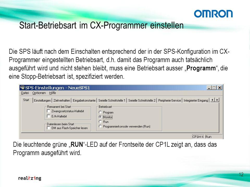 Start-Betriebsart im CX-Programmer einstellen