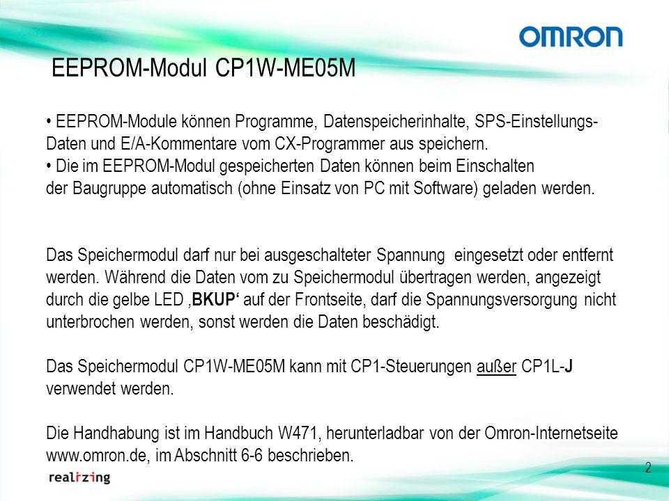 EEPROM-Modul CP1W-ME05M • EEPROM-Module können Programme, Datenspeicherinhalte, SPS-Einstellungs-