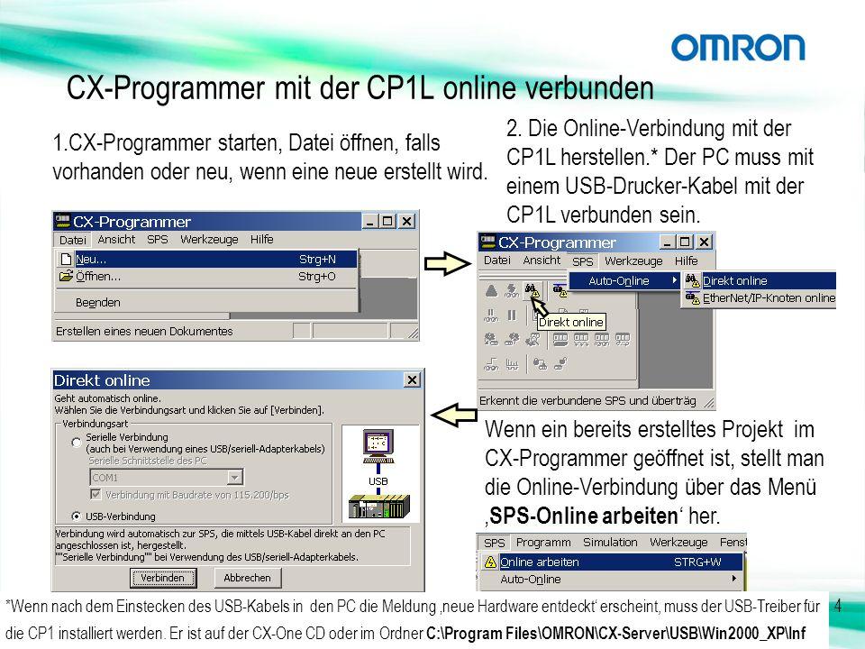 CX-Programmer mit der CP1L online verbunden