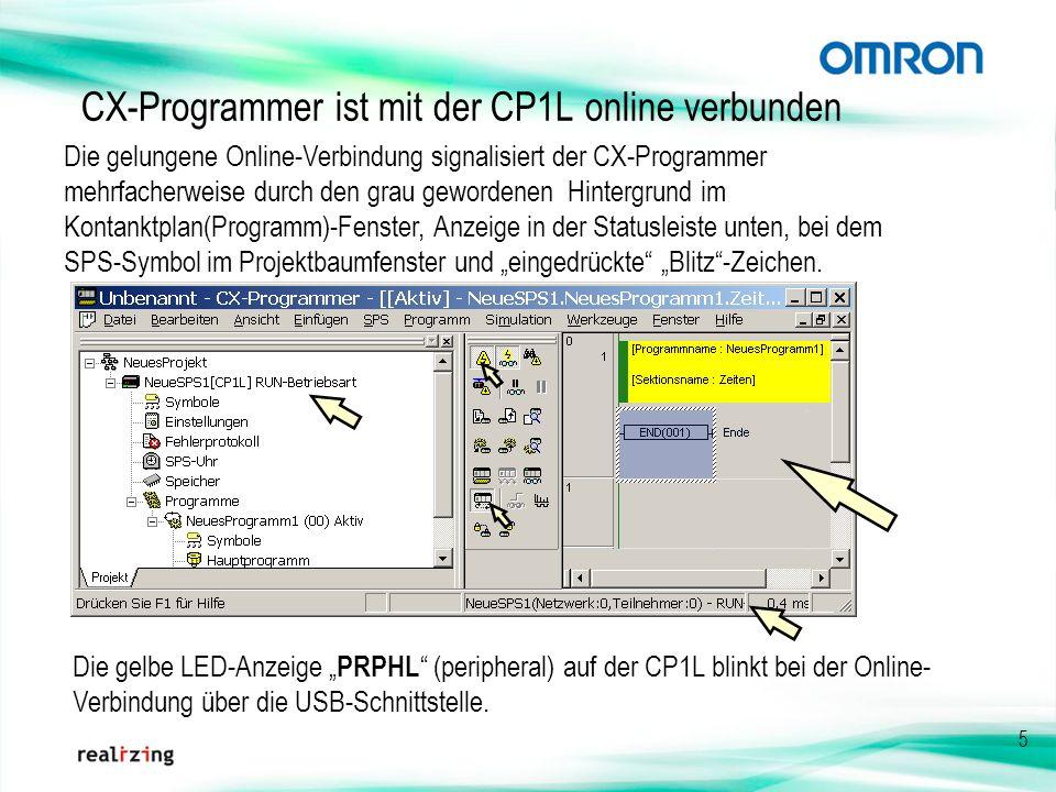 CX-Programmer ist mit der CP1L online verbunden