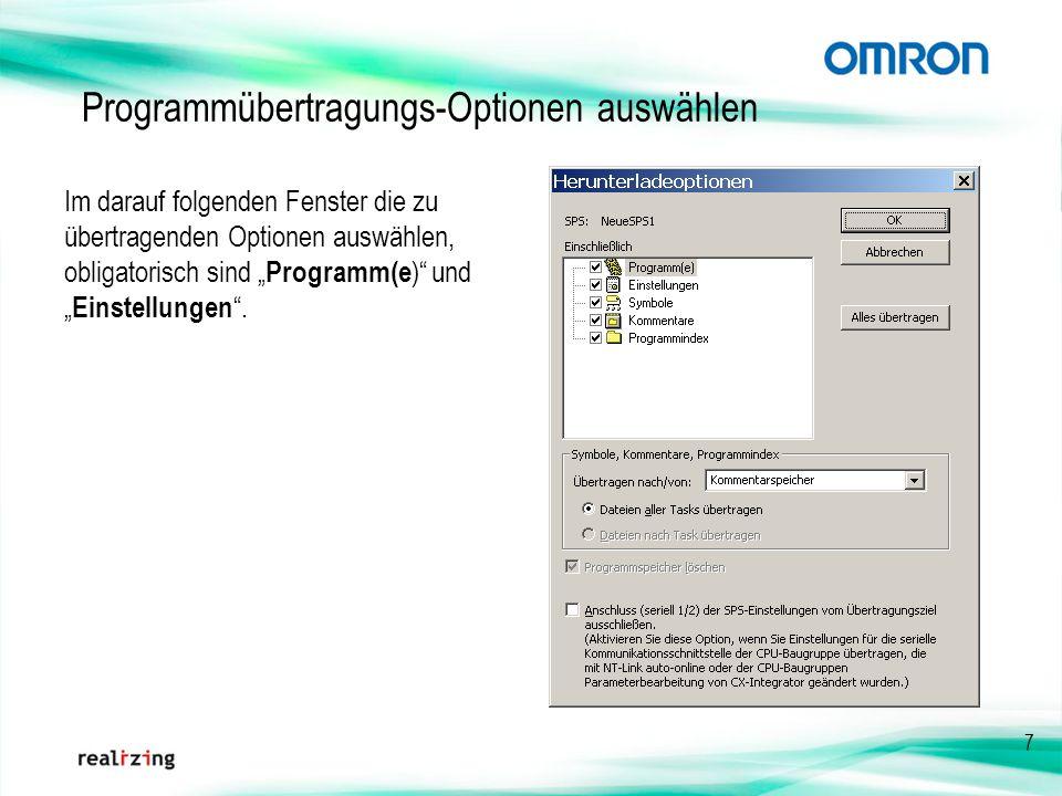 Programmübertragungs-Optionen auswählen