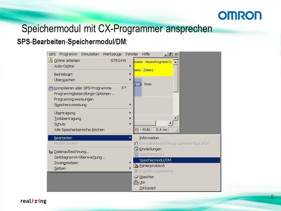 Speichermodul mit CX-Programmer ansprechen