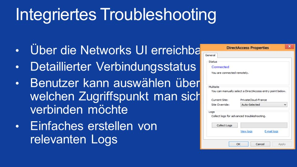 Integriertes Troubleshooting