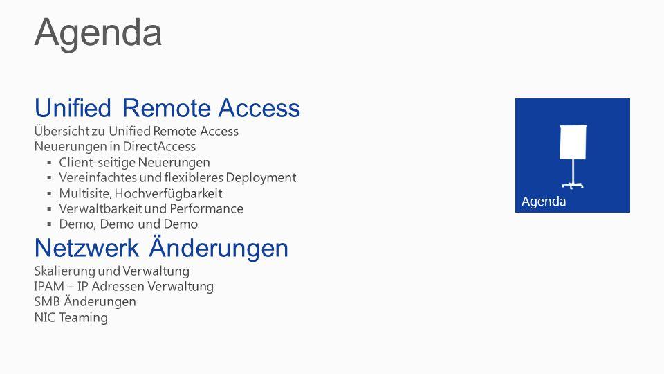 Agenda Unified Remote Access Netzwerk Änderungen