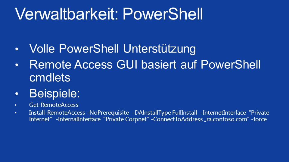 Verwaltbarkeit: PowerShell