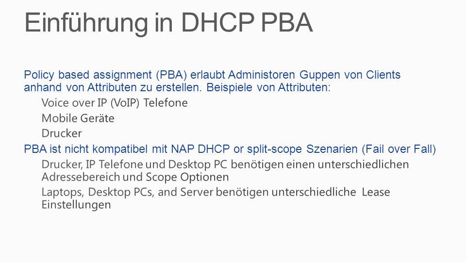 Einführung in DHCP PBA