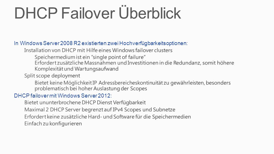 DHCP Failover Überblick