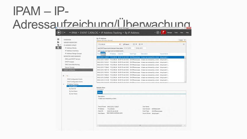 IPAM – IP-Adressaufzeichung/Überwachung