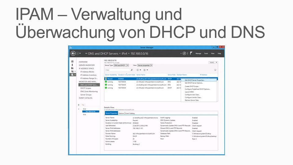 IPAM – Verwaltung und Überwachung von DHCP und DNS
