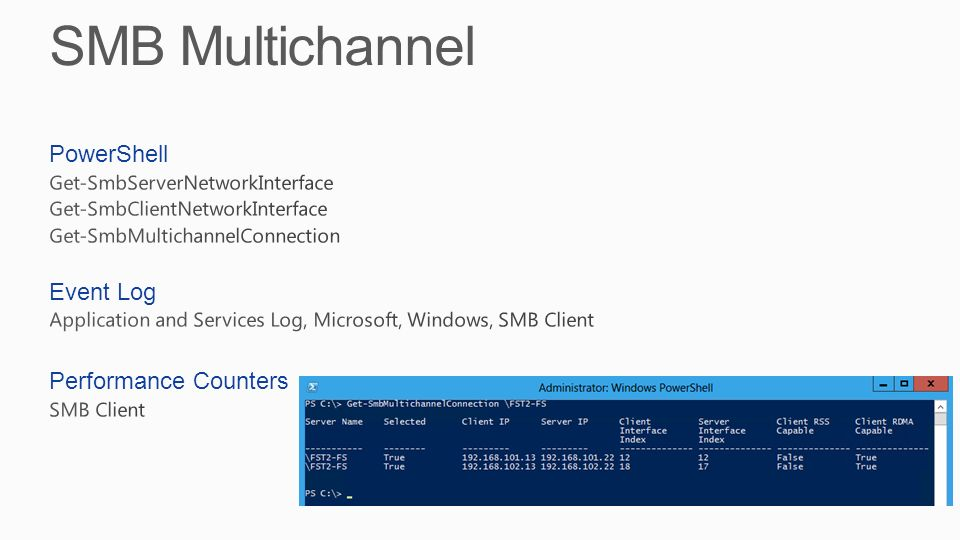 SMB Multichannel PowerShell Event Log Performance Counters