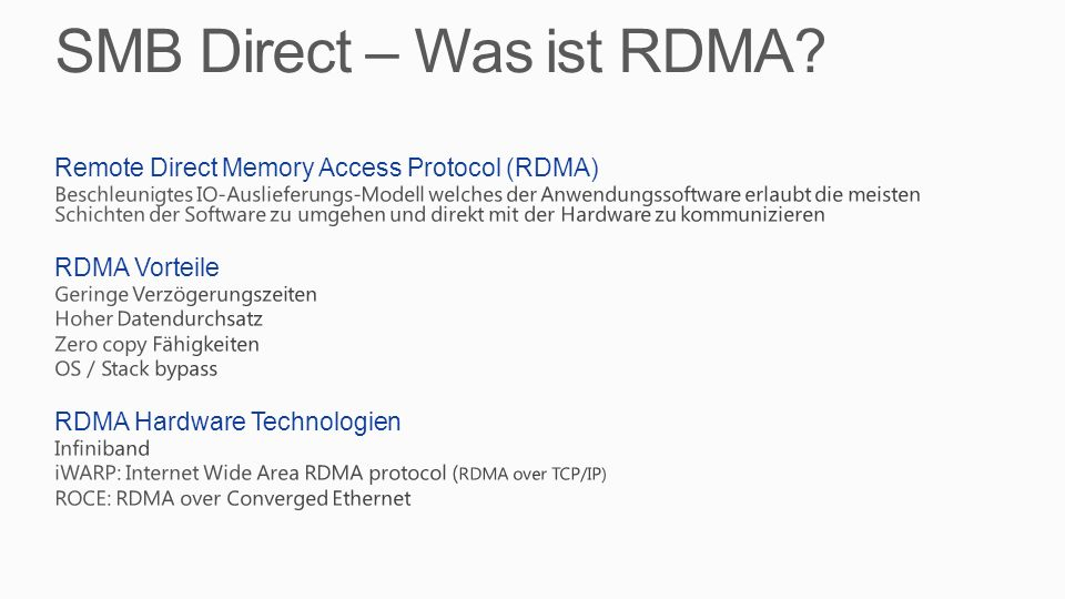 SMB Direct – Was ist RDMA